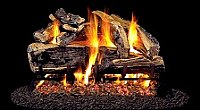 Peterson See-Thru Charred Rugged Split Oak Vented Gas Log Set